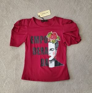Frida Khalo Puff Sleeve Top Shirt SZ Small